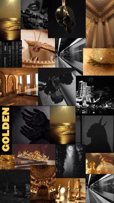 Black and gold moodboard