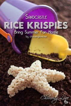 Sandcastle Rice Krispies Treats Bring Summer Fun Home. Easy way to enjoy beach memories without the Beach Treats, Summer Treats, Rice Krispie Treats, Rice Krispies, Luau Party, Beach Party, Kid Desserts, Kid Friendly Meals, Summer Fun
