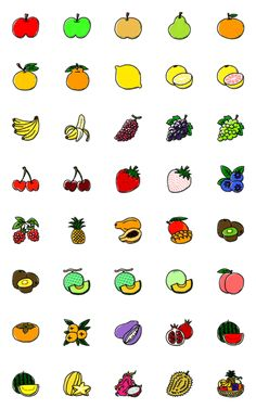 Fruit Icons, Doodles, Bullet Journal Aesthetic, Cute Patterns Wallpaper, Line Store, Aesthetic Stickers, Icon Set, Paper Texture, Emoji