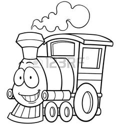 Vector illustration of cartoon train Coloring book Stock Vector Train Coloring Pages, Mermaid Coloring Pages, Easy Coloring Pages, Animal Coloring Pages, Coloring Books, Train Cartoon, Cartoon Pics, Trains, Train Drawing