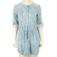 Lou & Grey Teal Triangle Print Sleeve Roll Tab Dress Pockets Womens Small - Grey Dresses - Ideas of Grey Dresses Grey Dresses, Triangle Print, Dress Pockets, Teal, Rompers, Shirt Dress, Sleeves, Shirts, Women