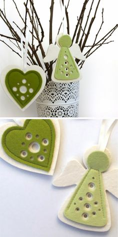 Darling Felt Ornaments Would be darling in a Quite Book I have often taken a large vase w/twigs and hang seasonal ornaments. Felt Christmas Decorations, Christmas Ornaments To Make, Christmas Sewing, Felt Ornaments, Homemade Christmas, Christmas Angels, Christmas Fun, Ornament Crafts, Christmas Projects