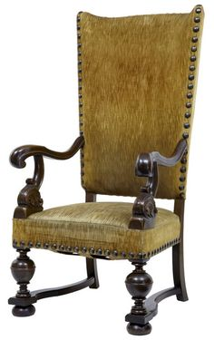 """RARE 19TH CENTURY FRENCH OAK LARGE HIGH BACK ARMCHAIR Ca1880 FRANCE. 52.75""""H x 27.25""""W x 28.5""""D."""