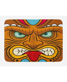 East Urban Home Ambesonne Tiki Bar Throw Pillow Cushion Cover, Cartoon Style Angry Looking Tiki Warrior Mask Colourful Totem Culture Print, Decorative Throw Pillow Sets, Lumbar Pillow, Pillow Covers, Home Bar Designs, Tiki Bars, Decorative Cushions, Home Gifts, Floor Pillows, Decorative Accessories