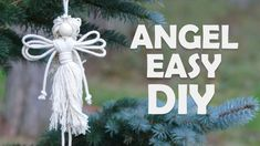 Easy DIY Angel using cotton rope Christmas Angel Crafts, Diy Christmas Ornaments, Christmas Tree Decorations, Christmas Crafts, Christmas Ideas, Christmas Christmas, Birthday Decorations, Macrame Projects, Diy Craft Projects
