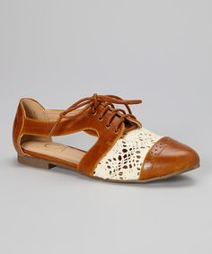 Cognac & Beige Crochet Oxford | Daily deals for moms, babies and kids