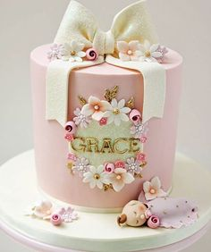 Christening cake for the cutest baby Grace 💖🌸🎀 I had the pleasure of making Grace's older sister Jasmine's christening cake and first… Baby Girl Christening Cake, Baby Girl Birthday Cake, Baby Girl Cakes, 1st Birthday Cakes, Baby Shower Cake For Girls, Shower Baby, Birthday Ideas, Baby Shower Kuchen, Gateau Baby Shower