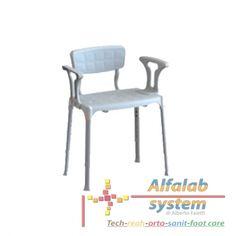 SEDIA DA DOCCIA CON BRACCIOLI E SCHIENALE - 85,00 € - Solo online: http://alfalabsystem.eu/bagno/165-sedia-da-doccia-con-braccioli-e-schienale.html - Codice  EH-SSAB-PP-BX - Prodotto Nuovo - Sedia da doccia con seduta rettangolare in polimero antisdrucciolo con braccioli e schienale. Altezza regolabile da 39 cm fino a 54 cm grazie alle gambe telescopiche.