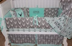 This is a listing for Custom Baby bedding crib 6 pc set  Mint accents and grey deer head print along with mint and grey feather print sheet make up this adorable set! 1. 4 pc bumper set with monogram  www.etsy.com/shop/babiesnbaubles or www.facebook.com/babiesnbaubles