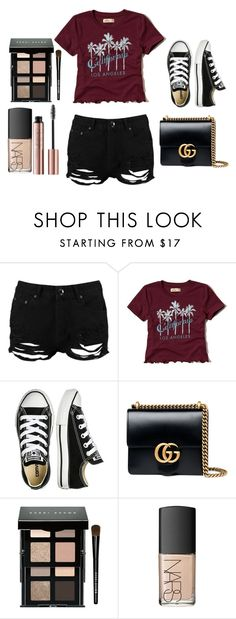 """Miss summer #1"" by prettydiva10a ❤ liked on Polyvore featuring Boohoo, Hollister Co., Converse, Gucci, Bobbi Brown Cosmetics and NARS Cosmetics"