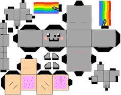nyan cat cubeecraft by i-sabella-v Nyan Cat, Hama Beads Minecraft, Minecraft Pixel Art, Minecraft Crafts, Minecraft Skins, Minecraft Buildings, Perler Beads, Cat Template, Diy And Crafts