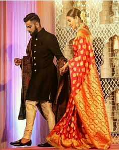 Check out: Anushka Sharma and husband Virat Kohli make for a PERFECT couple in these candid pictures Indian Groom Dress, Wedding Dresses Men Indian, Indian Wedding Bride, Wedding Suits, Indian Weddings, Indian Wear, Anushka Sharma, Saris, Virat Kohli Marriage