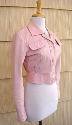 Vintage 80s Lillie Rubin Ostrich-Embossed Pink Leather Jean-Style Jacket XS/S Vintage Fashions on Ruby Lane $85.00