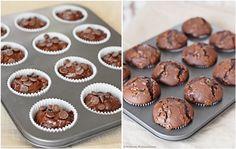 Schokoladenmuffins vor und nach dem Backen