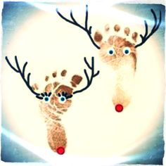 I just love this idea of making his or her reindeer from foot prints. Preschool Crafts, Crafts For Kids, Diy Crafts, Reindeer Footprint, Reno, Christmas Diy, Creative, Holidays, Painting