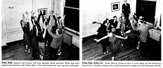 """Life Magazine - December 1, 1937 - Page 31  PRAISE ALLAH/SWING HIGH, SWING LOW: (left) Dancers rush forward with arms upraised, hands quivering. When they come together they bend low, yell """"Praise Allah."""" Then they break away, arms up, form circle again. (right) Arthur Murray stands on chair at back calling out the formations. Dancers do a Charleston Swing, with a high kick forward on right and low kick back with left."""