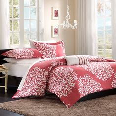 NEW Bed Bag Twin XL Full Queen 4 pc piece Pink White Floral Damask Comforter Set #Unknown #Unknown