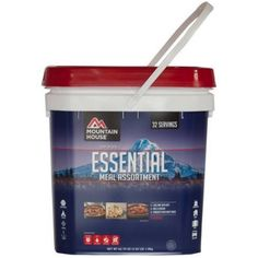 The Mountain House Essential Bucket contains 32 servings of some of our most delicious homecooked favorites. You'll find 4 pouches each of Mountain House Rice & Chicken, Chili Mac with Beef, and Spaghetti with Meat Sauce — all of which are packed with protein and other nutrients to fuel you through anything. What else? Oh yeah — they taste amazing. In fact, they're good for 12 or more years, so you can save them for when you need 'em most.