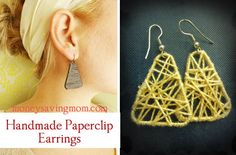 Beautiful handmade earrings from paperclips and string. Fun Christmas gift!