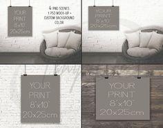8x10 Portrait & Landscape Poster Mockups, Black Binder Clips, 4 Print Display Mockups, PNG PSD PSE Bricks Wood Sofa, Custom background color