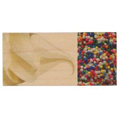 Ice Cream With Sprinkles On Top Wood USB 2.0 Flash Drive