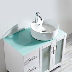 Vinnova Tuscany 36-inch Single Vanity in White with White Vessel Sink with Glass Countertop without Mirror