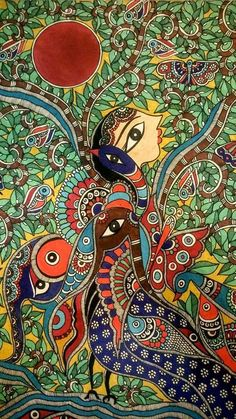Indian Traditional Paintings, Indian Art Paintings, Madhubani Art, Madhubani Painting, Indian Folk Art, Arabic Art, Mural Art, Tribal Art, Painting Inspiration