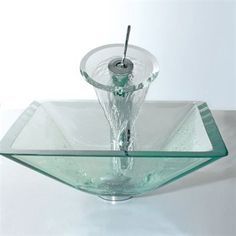 Kraus C-GVS-901-19mm-10 Aquamarine Square Waterfall Faucet Combo Glass Sink