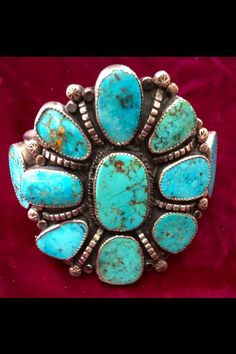 heavy vintage navajo sterling and turquoise bracelet. #SterlingSilverTurquoise