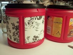 Folgers coffee containers and Dollar Store contact paper for fast and pretty storage. Plastic Coffee Cans, Plastic Coffee Containers, Storage Containers, Folgers Coffee Container, Diy Craft Projects, Diy Crafts, Recycled Crafts, Creamer Bottles, Red Canisters