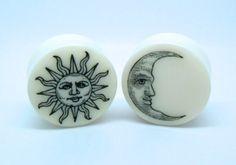 Organic Plugs / Gauges Sun & Moon 4g /5mm2g por TheGaugeQueen, $24,00