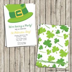 Green Leprechaun Hat St. Patty's Day Invitation - Instant Download! by tlittleladydesigns, $8.00 USD