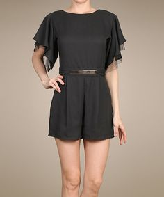Another great find on #zulily! Black Flutter-Sleeve Romper by Lovposh #zulilyfinds