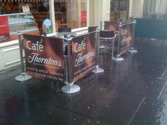 Thorntons PVC Cafe Barrier system. #cafe #cafebarriers #cafebanners #banners #thorntons #pvc