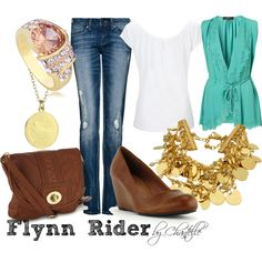 A casual outfit inspired by Flynn Rider from Disney's Tangled. Tangled Flynn Rider, Disney Tangled, Disney And Dreamworks, I Love Fashion, Stylists, Casual Outfits, Hair Beauty, My Love, Feminine Fashion