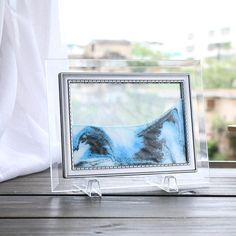 1Pc Blue Moving Sand Glass Picture Home Office Table Decor Birthday Gift