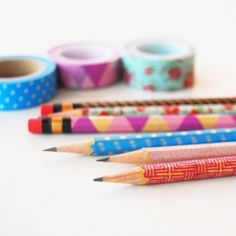 Decorate your pencils with washi tape. It's quick and easy to do.