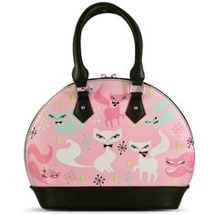 Swanky Kittens Retro Handbag featuring polyvore, women's fashion, bags and handbags