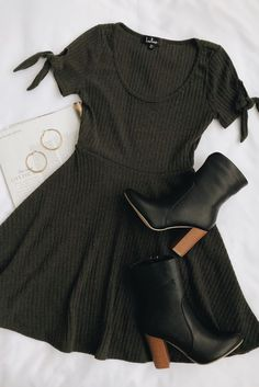 40a0ecd0f340e Nothing in your closet is as adorable as the Lulus Too Cute Dark Green Knit  Tie-Sleeve Skater Dress! Ribbed knit skater dress with tying short sleeves.
