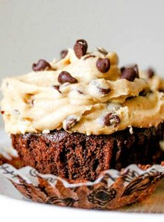 Fudge Brownie Cupcakes with Cookie Dough Frosting.