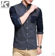 เสื้อผ้าผู้ชาย เชิ้ตแขนยาว สีน้ำเงินจุดขาวต่อแขนน้ำเงินเข้ม http://www.sunday17.com/product/949