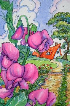 """""""Sweet Peas in the Garden Storybook Cottage Series"""" - Original Fine Art for Sale - � Alida Akers"""