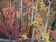 Untitled (Autumn Trees) Lawren Harris , oil on panel in) Canadian Group of Seven Canadian Painters, Canadian Artists, Abstract Landscape, Landscape Paintings, Group Of Seven Art, Forest Painting, Traditional Landscape, Autumn Trees, Art Techniques