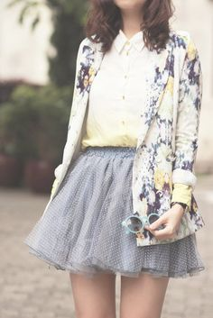 floral cardigan, tulle mini skirt. If the skirt was longer I would really like this!