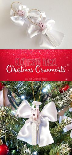 DIY Clothespin Angel Christmas Ornaments Tutorial #handmadechristmas #christmasornaments #decoratethetree