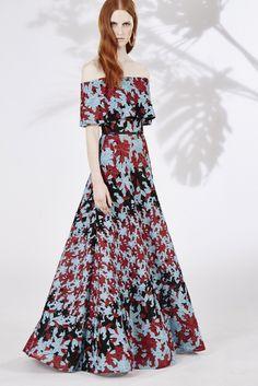Elie Saab | Resort 2016 | 15 Blue/red/black floral off shoulder maxi dress