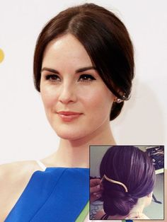 Michelle Dockery's classic chignon with a chic gold hair clip at the 2014 Emmy Awards | allure.com