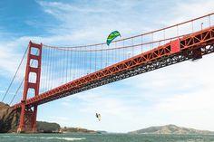 (See T-Shirt Pin) CAs Surf | The Best Kiteboarding Spots in California - Golden Gate Bridge, San Francisco, California - Photo: Red Bull