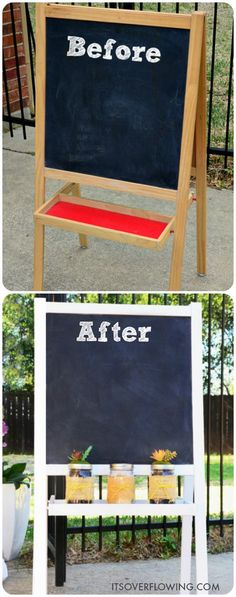 IKEA Hack Chalkboard. Now it's ready to welcome guests for all my outdoor parties!