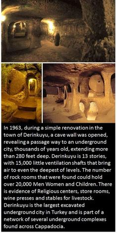 Ancient Underground City of Derinkuyu in Turkey. c… Ancient Underground City of Derinkuyu in Turkey circa 1700 bce The post Ancient Underground City of Derinkuyu in Turkey c… appeared first on Garden ideas - Architecture Cool Places To Visit, Places To Travel, Places To Go, Ancient Aliens, Ancient History, Ancient Egypt, Ancient Greece, Underground Cities, Wtf Fun Facts